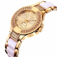 Top Brand Luxury Rose Gold CRYSTAL Ceramic Watch Women Ladies Casual Dress Watch Relojes Mujer montre femme Relogio Feminino