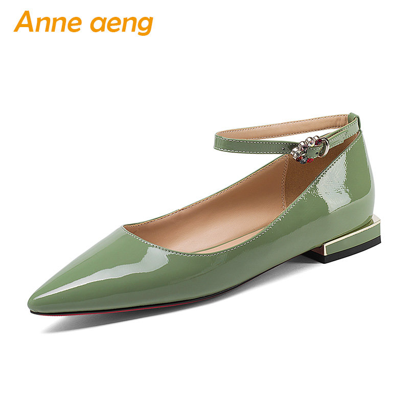 New Spring/Autumn Genuine Leather Women Pumps Low Heels Cow Leather Upper Pointed Toe Sexy Leadies Women Shoes Green Mary Janes mary janes shoes woman genuine leather strange style women heels pumps pointed toe shoes string bead spring autumn women shoes