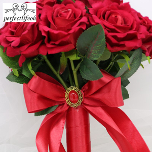 Image 3 - perfectlifeoh Hot Red Wedding Bouquet Bridal Bouquet Wedding Decoration Foamflowers Rose Bridal Bouquet