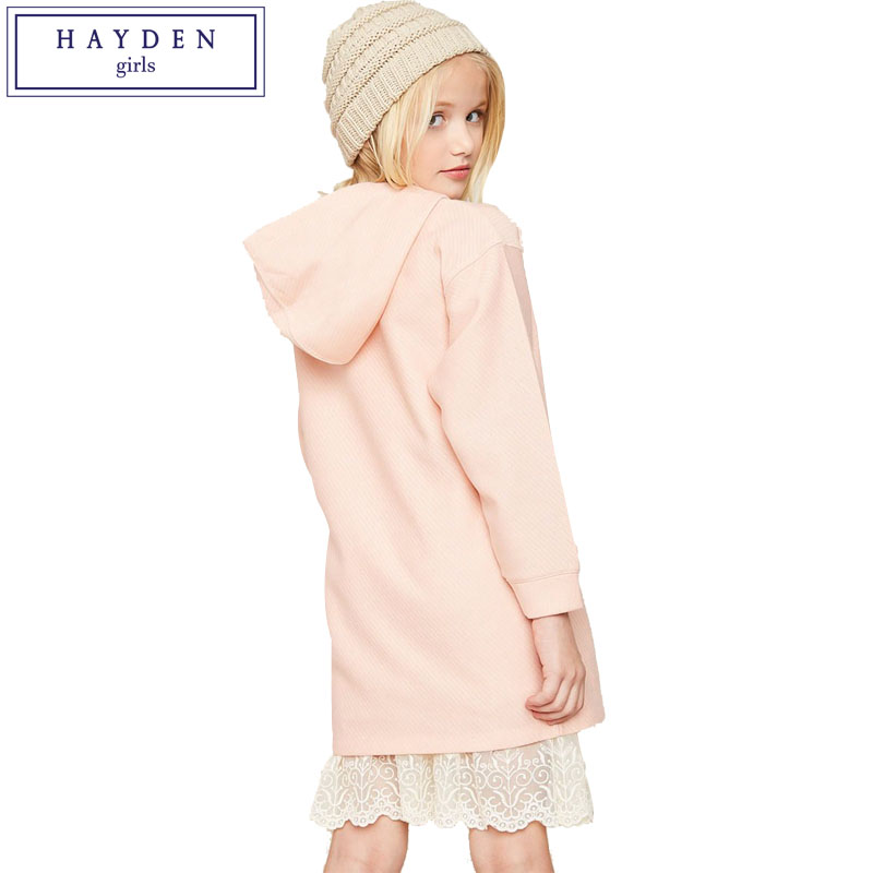 HAYDEN Girls Loose Casual Hooded Sweatshirt Dress Long Sleeve 2018 Spring Teenage Girls Pocket Dress Size 7 to 14 Years batwing sleeve pocket side curved hem textured dress
