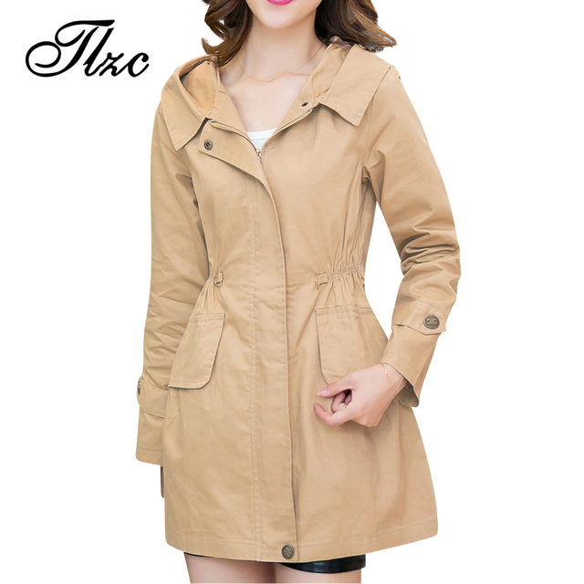 TLZC Women Fashion Hooded Trench Coats Plus Size M-4XL Winter Autumn Spring Slim Black / Khaki Zipper Lady Long Outwear
