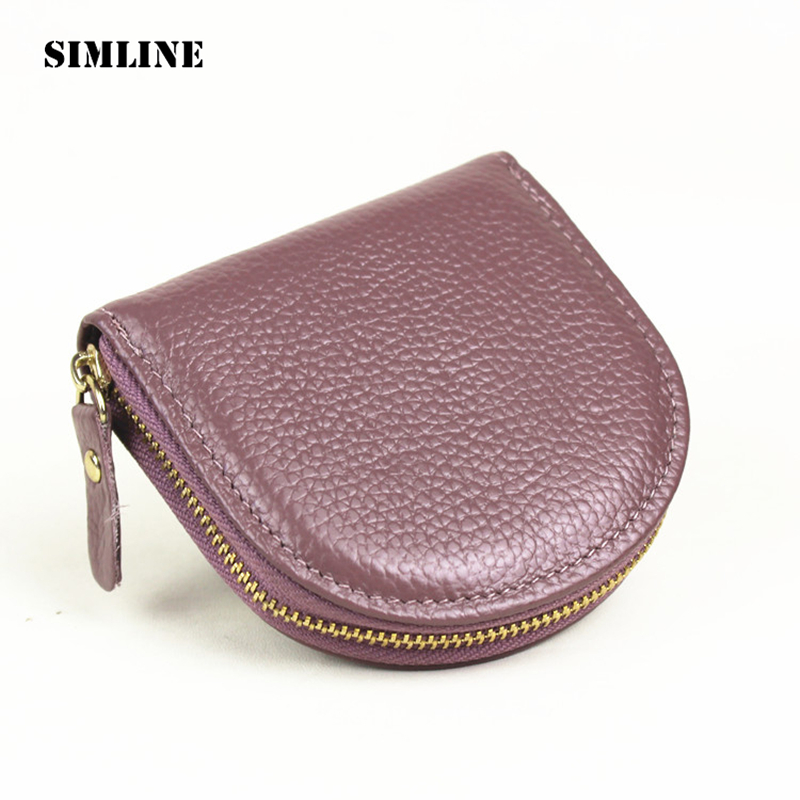 SIMLINE High Quality Fashion Casual Genuine Leather Cowhide Women Girl Small Zipper Coin Purse Wallet Wallets Storage Bag Bags 2017 genuine cowhide leather brand women wallet short design lady small coin purse mini clutch cartera high quality