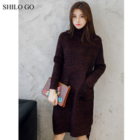 SHILO GO Sweater Womens Korea Winter Fashion Concise Loose Long Sleeve Coat Stand Collar Wine Red