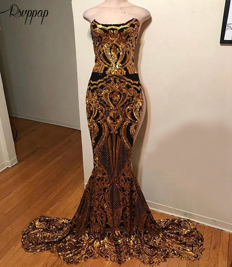 Long Sparkly   Prom     Dresses   2019 Sexy Mermaid Sleeveless African Black Girl Gold Sequin Party Women   Prom     Dress