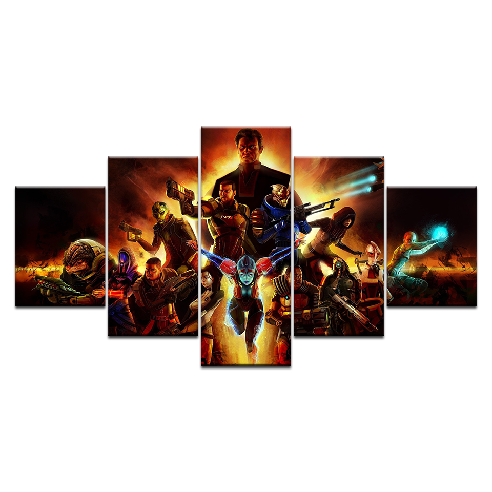 HD Print Top-Rated Canvas Paintings Modular Style 5 Pieces Mass Effect Game Normandy SR-2 Poster Wall Art Home Decorative Poster image