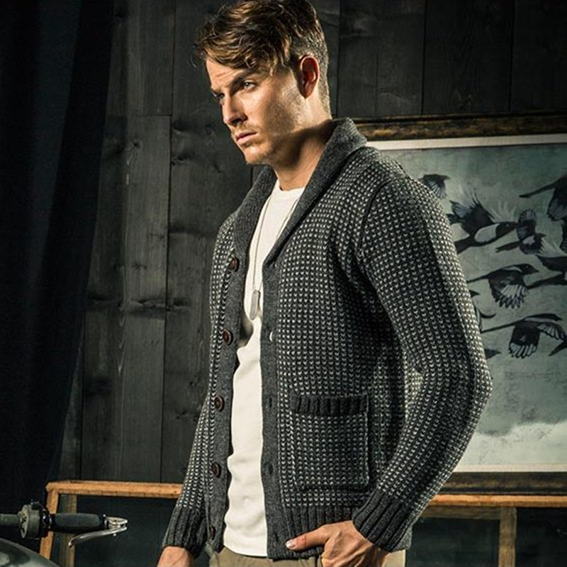 AK CLUB Brand font b Sweater b font Wool Cardigan Casual Classic Shawl Collar Woolen font