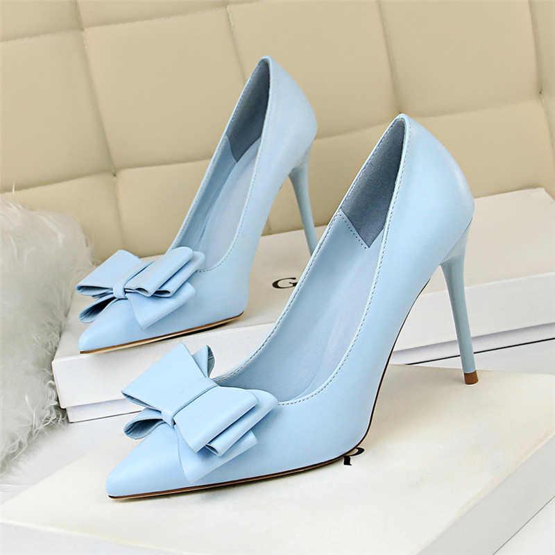 5bde72bbf ... 2019 Woman Fetish 10cm High Heels Scarpins Shoes Female Blue Pink  Yellow Escarpins Heels Talons Stiletto ...