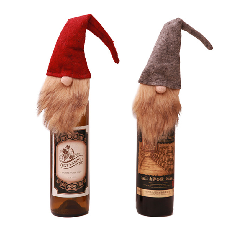2pcs/set Christmas Wine Bottle Cover Old Man Faceless Doll Bottle Decor Kitchen Dinner Decoration For New Year Xmas Dinner Party Mild And Mellow Home & Garden Dust Covers