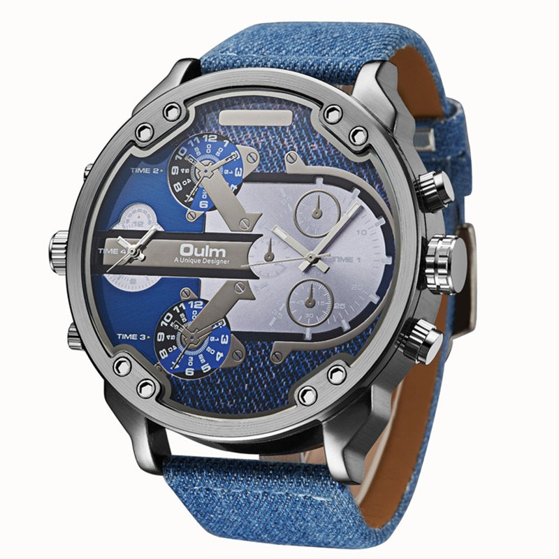 TEAROKE Denim Men Sport Watch Oulm Luxury Brand Big Dial Quartz Watch Stainless Steel Leather Male Fashion Wristwatch Military