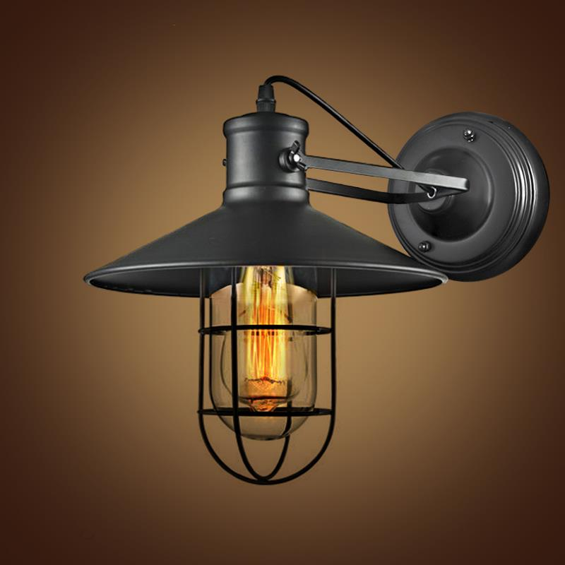 Retro Iron Wall Lamp Wrought Industrial Loft Lamps Wall Sconce Unique Glass Guard Design Cage ...