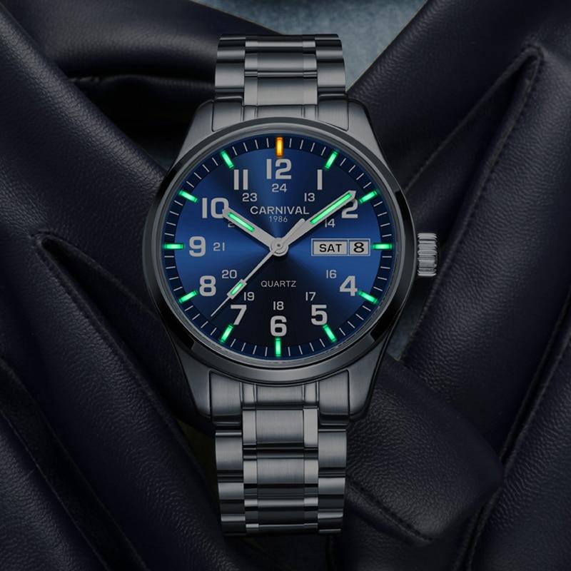 Acier noir hommes Tritium montre militaire 30 m étanche montres Quartz automatique Date horloge Sport mâle relogios masculino montre hommes nouveau