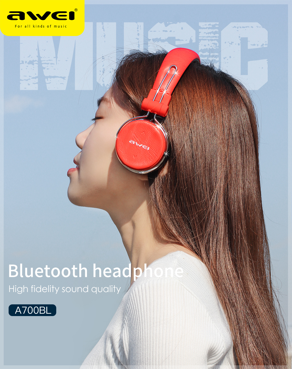 Person - AWEI A700BL Bluetooth Headset with Microphone Wireless