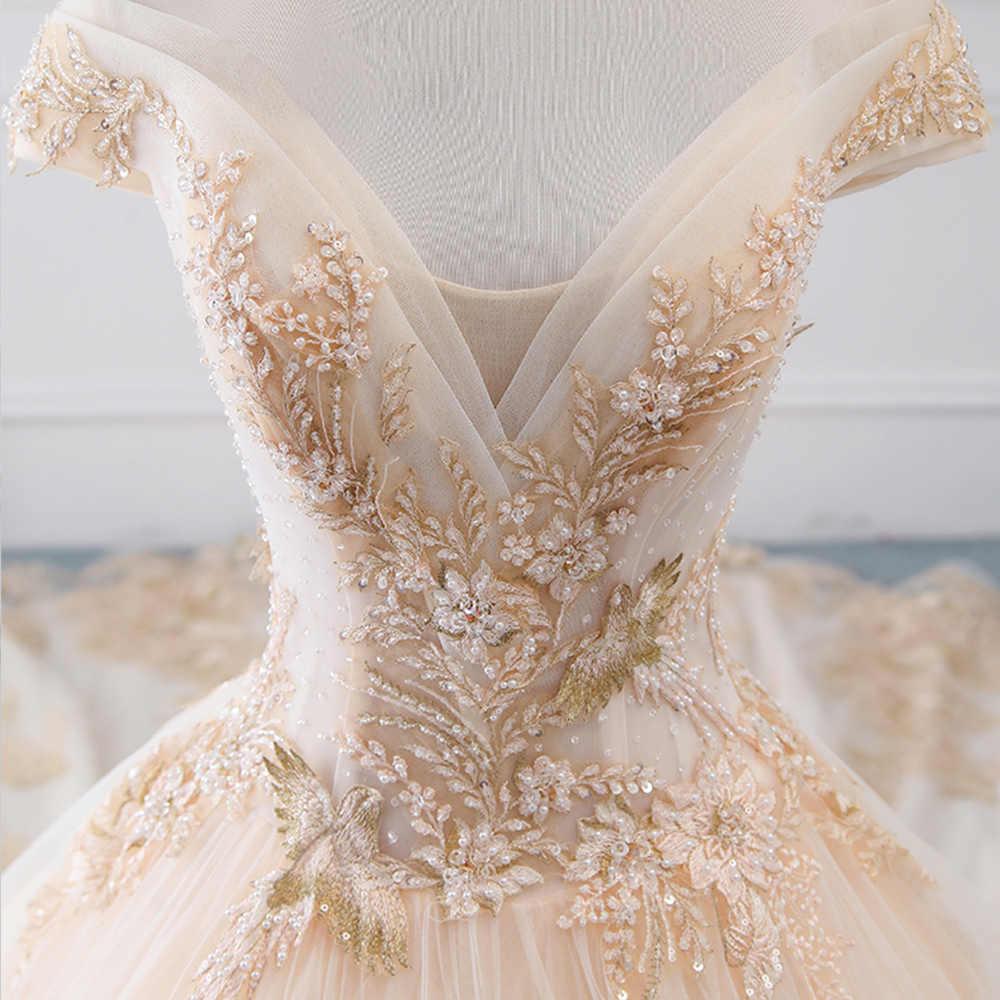 Brautkleid Sang Trọng Chữ A Váy Áo Plus Kích Thước Lấp Lánh Chiếu Trúc Hạt Ngọc Trai Bruidsjurken Áo Dài Cô Dâu Voan Vintage Gelinlik
