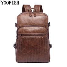 YOOFISH  Men Business Casual Backpacks for School Travel Bag Black PU Leather Mens Fashion Shoulder Bags Backpack