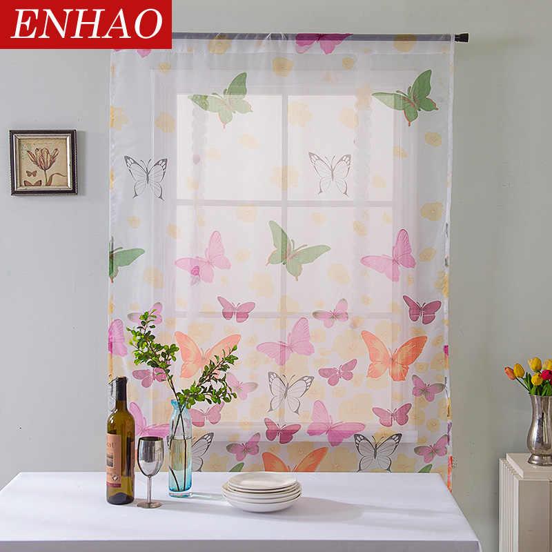ENHAO короткие шторы тюль ткани Короткие шторы для кухни Шторы римские шторы Бабочка Дизайн оконные драпировки Sheer 3d