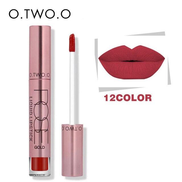 O. dos. o 12 colores mejor venta kissproof cosmética Brillo de labios de larga duración impermeable fácil de usar líquido mate terciopelo Pintalabios