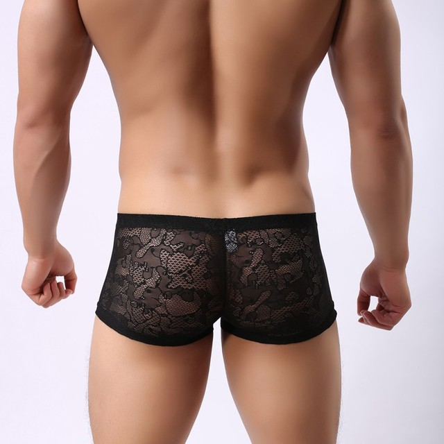 Super Sexy Sheer Hombres Ropa Interior Boxers Hombres Gay Transparente Ropa  Interior Pantalones Cortos Mens Encaje