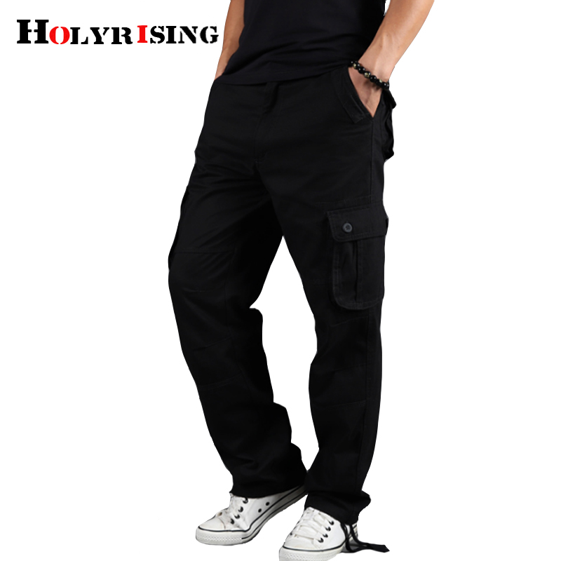 FSSE Mens Straight Leg Outdoor Ripstop Loose Fit Cotton Multi-Pockets Casual Cargo Pants