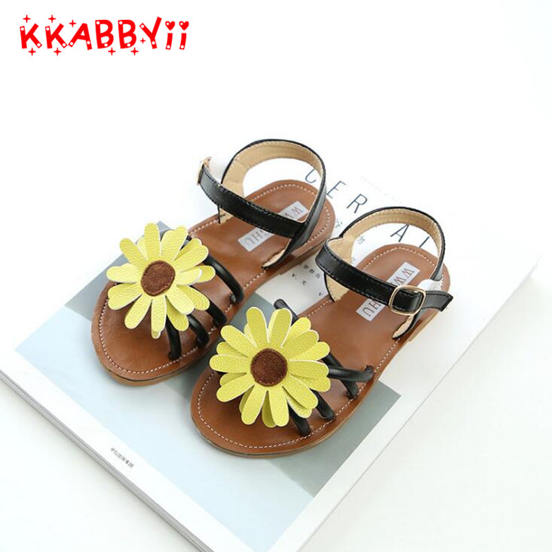 Girls Sandals 2018 New Summer Pu Leather Sun flower Flat Shoes Children Beach Shoes For  ...