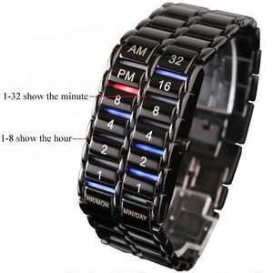 Image 4 - Neue Mode Digitale Uhr Coole Vulkanischen Lava Stil Eisen Faceless Binary LED Handgelenk Uhren für Männer Schwarz/Silber