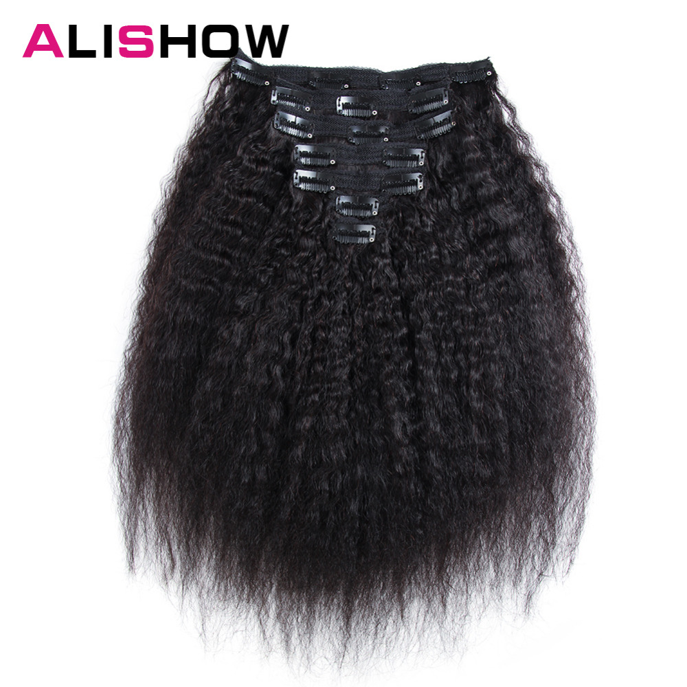 Alishow Hair Kinky Striaght Clip In Human Hair Extension 120g Brazilian Natural Hair in Clips Full Head Remy Hair Natural Color(China)