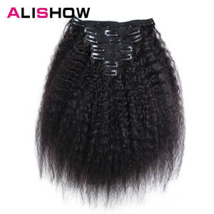 Alishow Human Hair Extension in Clips Remy Hair Natural