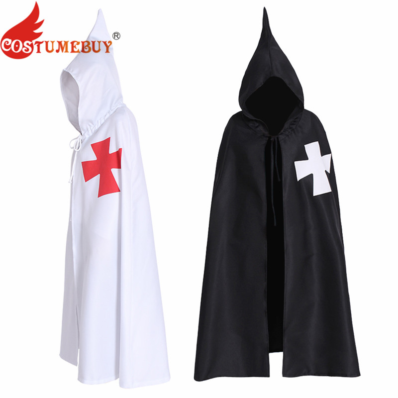 CostumeBuy Halloween Men's Cloak Cape Crusaders White Black Adult Templar Knight cosplay Costumes Sleeveless Jacket Cape Belt