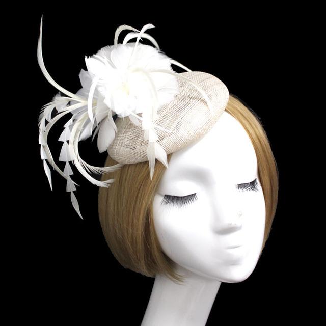 Frete Grátis Elegante Do Casamento desgaste Da Cabeça de Moda Feminina Chapéu Chapéu de Flor De Penas De Noiva Do Casamento Acessórios do Casamento Chapéu de Noiva FH4