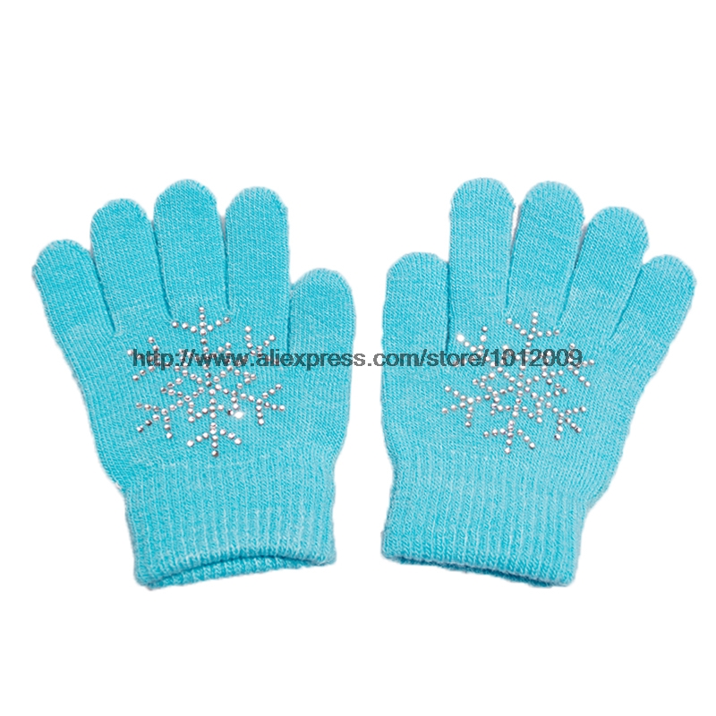 10 Colors Magic Wrist Gloves Figure Skating Ice Training Gloves Exquisite Warm Fleece Thermal Child Adult Snow Rhinestone 5