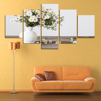 5 pcs hot sale White vase sunflower Oil Painting Modern Canvas Paint Flower Art Wall Hanging Beautiful Scenery Painting