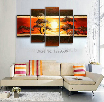5 Pcs/set Hand-painted The Mountain Sunrise Oil Painting Wall Art Decoration On Canvas Paintings As Living Room Unique Gift