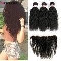 8А Перуанский Девственные Волосы С Закрытием Перуанской Вьющиеся Волосы Курчавые с Закрытием Ms Lula Волосы С Закрытием Горячие Человеческие Волосы пучки