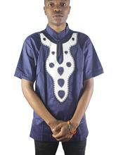 Africa Navy Blue Embroidery Men`s Ethnic Tops Short Sleeved Folk Shirts for Wedding цена