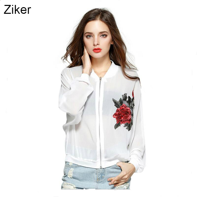 Ziker New 2017 Fashion Summer Sunscreen Women Chiffon Embroidery Flower Mesh Coat Air Conditioning Sun Protection Clothing 4XL