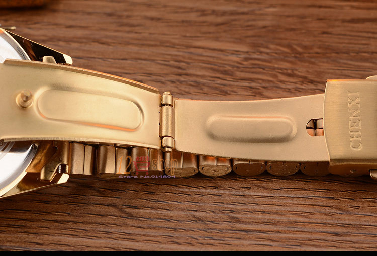 CHENXI Brand Top Luxury Ladies Gold Watch Women Golden Clock Female Women Dress Rhinestone Quartz Waterproof Watches Feminine 17