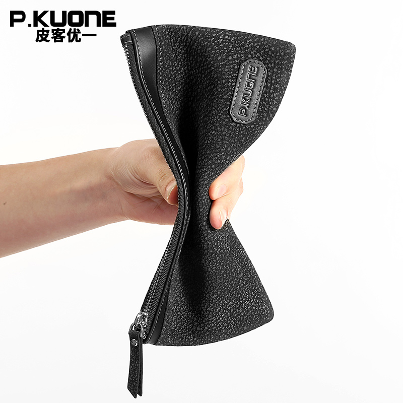 P.KUONE New Design Supple Phone Wallet Genuine Leather Clamp For Money Purse Men Handbag Clutch Bag Large Capacity Card Holder casual weaving design card holder handbag hasp wallet for women