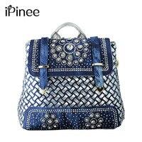 IPinee Donne 2017 big sacchetti di scuola casuale cute denim jean donne zaino per borse da viaggio borse vintage zaini scuola all'ingrosso