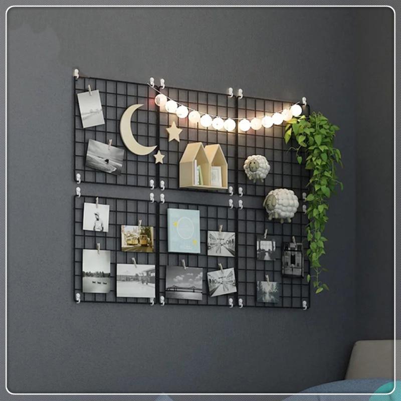 Multifunctional Iron Metal Grid Decorative Picture Frame Wall Art Display Mesh Storage Rack Storage Rack Shelf Picture Wall