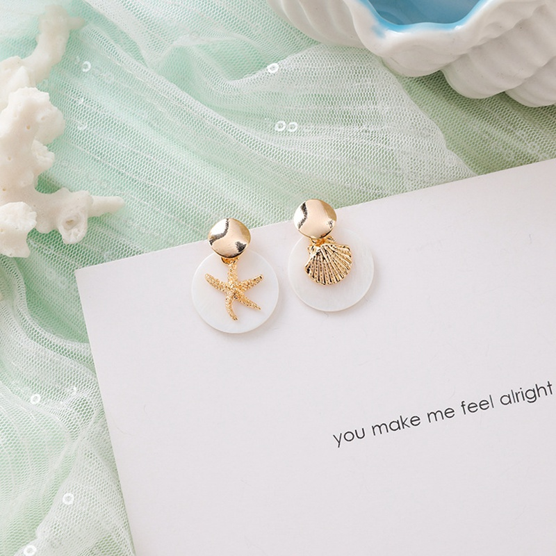 MENGJIQIAO New Korea Japan Elegant Shell Starfish Drop Earrings For Women Sweety Simulated Pearl Pendientes Girl Party Jewelry 25