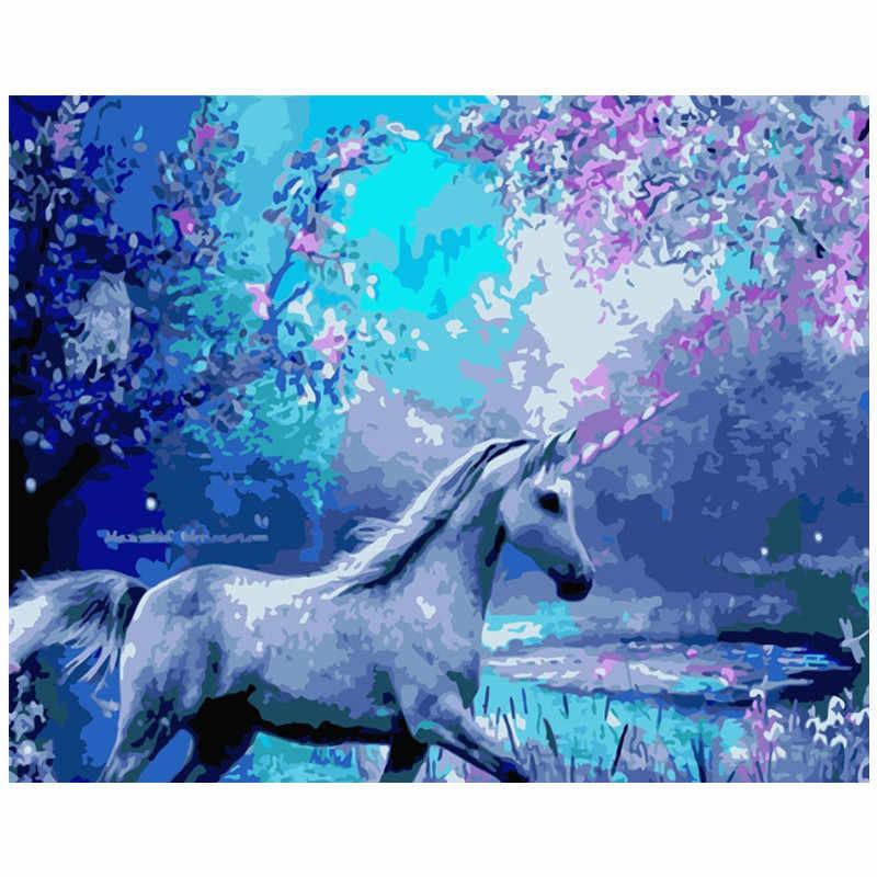 Pintura por números DIY Dropshipping 40x50 50x65cm flor de cerezo unicornio Animal lona decoración de la boda arte imagen regalo