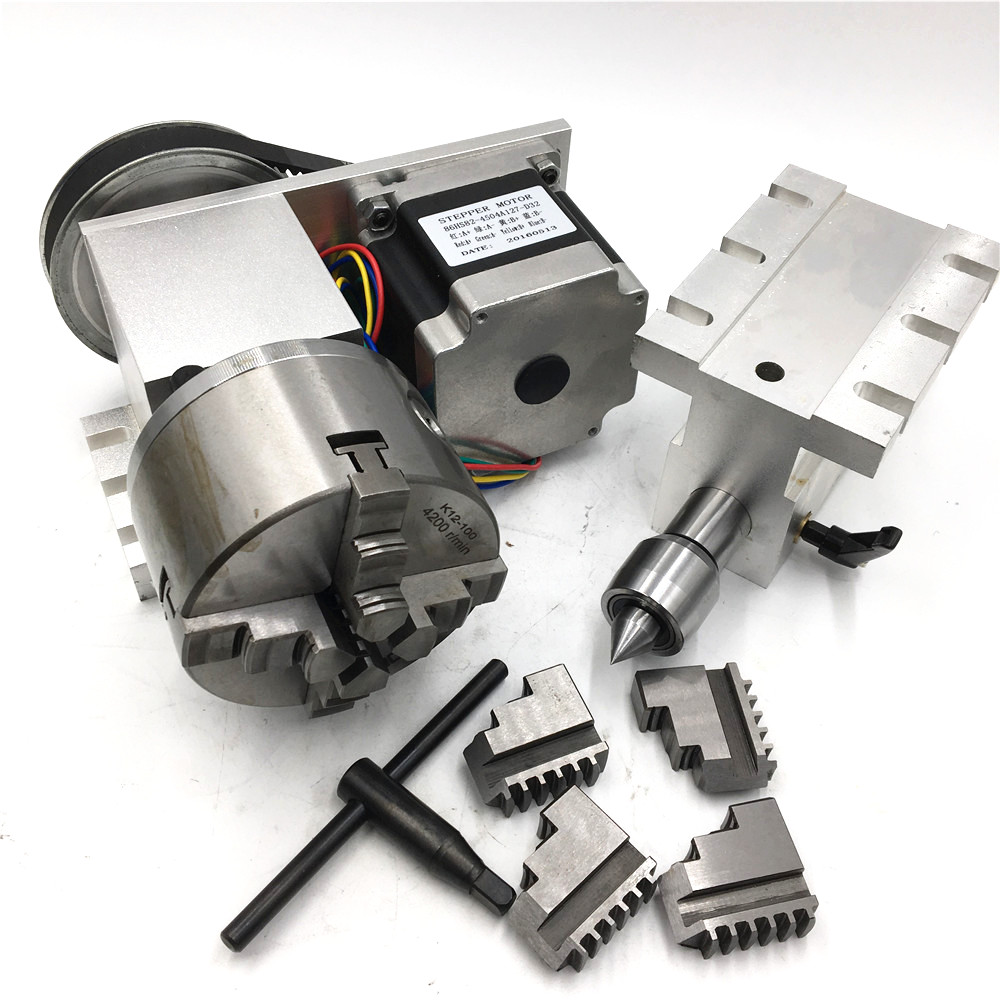 MT2 Morse Taper NO.2 Tailstock Rotary 4th Axis Nema34 Stepper Motor 4-Jaw 100mm Lathe Chuck Rotational A Axis For CNC Router