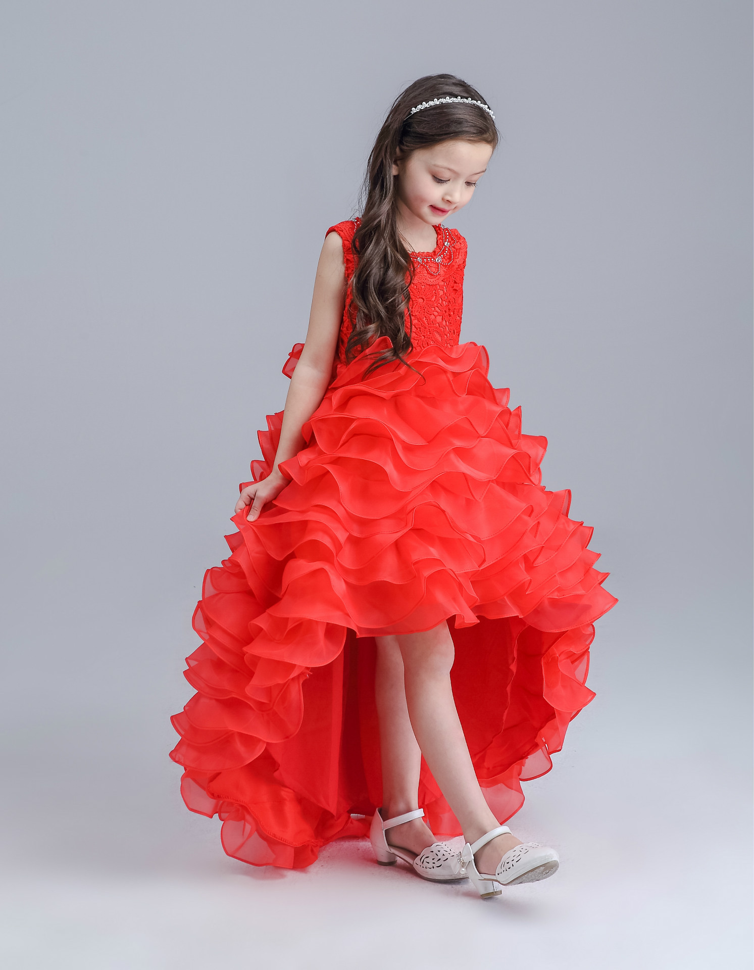 New Red Tailed Girls Dress Princess Wedding Party Flower Children Bridesmaid Vestidos Ropa Infantil Girl 2016 Kids Clothes 4-15Y 2017 new flower girls elegant sequined long mesh wedding birthday party dresses baby kids children vestidos infantil clothes