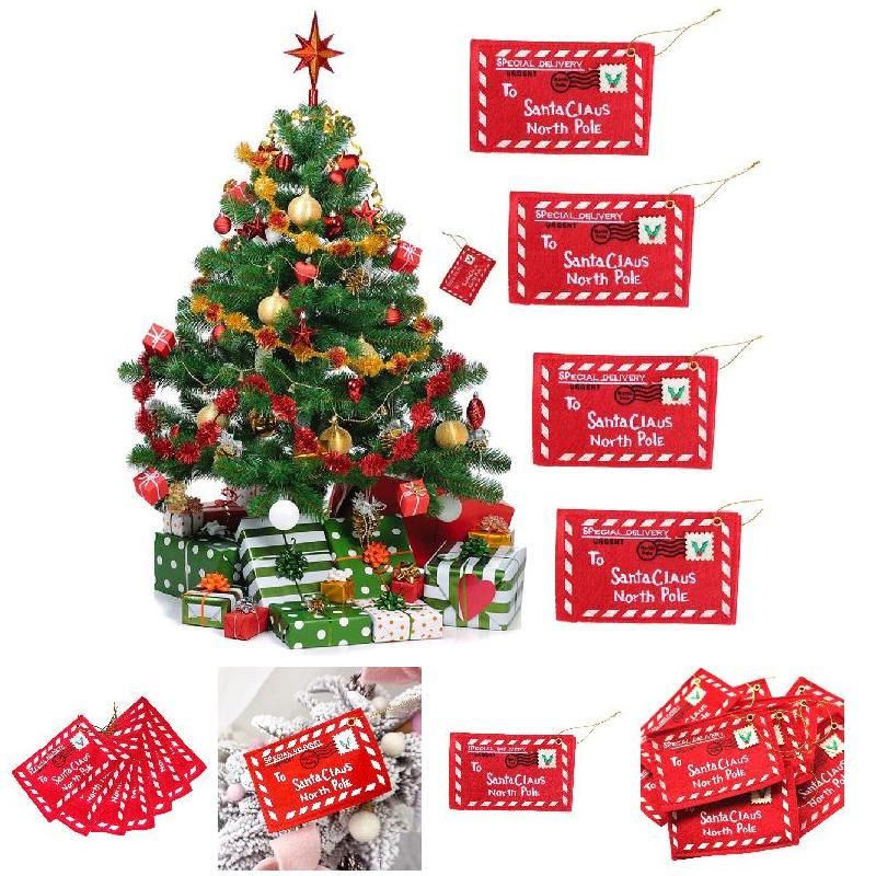 Us 1 51 28 Off Christmas Envelope Xmas Tree Hanging Card Holder Santa Gift Bag Red Decoration In Pendant Drop Ornaments From Home Garden On