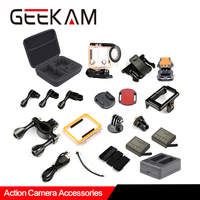 GEEKAM Action Camera Accessories Set Waterproof Case 1050mAh Battery Double Charger Screw Bicycle Mount For H3R/H3 H2R/H2