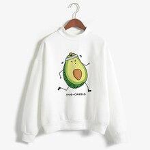 Harajuku Oversized Pullovers Turtleneck White Hoodies Sweatshirt Kawaii Cartoon Avocado Printed 2019 Long Sleeve Women Clothes