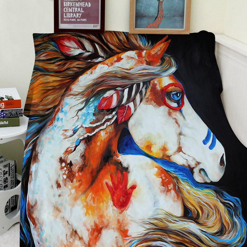 Blankets Comfort Cozy Air conditioning Easy Care Machine Wash Beautiful Modern Art Abstract Painting Animal Horse in Blankets from Home Garden