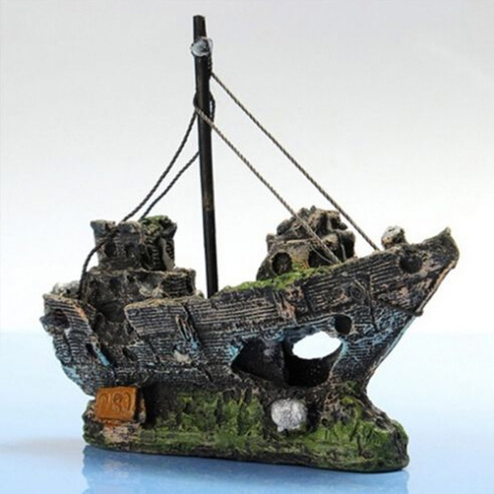 China aquarium fish tank price - Aquarium Ornament Sunken Steamboat Sailing Boat Ship Wreck Fish Tank Cave Decor China Mainland