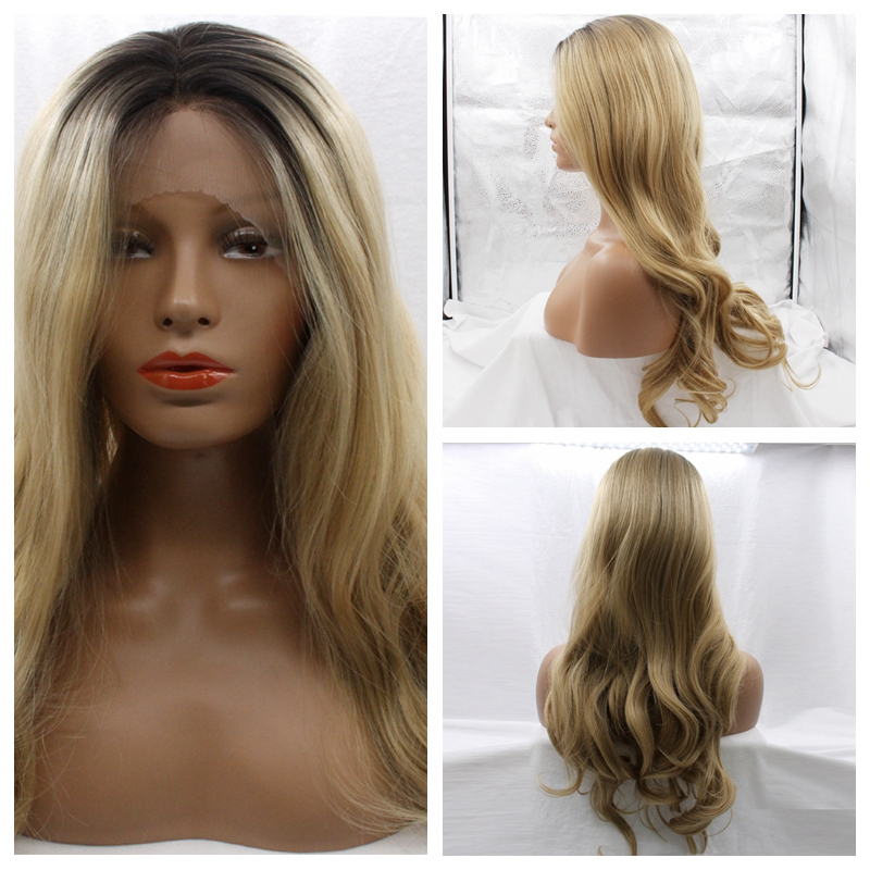 ФОТО Superior Middle Part Style Long Two Tone Ombre Black Blonde Synthetic Wig Women Wig Mixed Color Body Wave Synthetic Wig