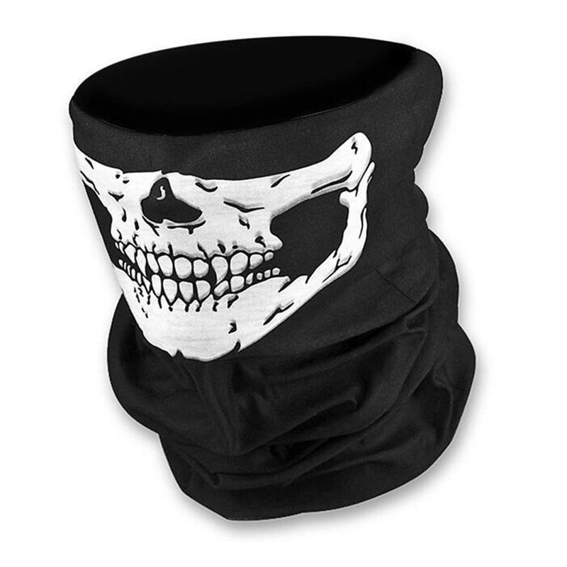 Skull Motorcycle Tube Scarf Headwear Skull Face Shield Magic Seamless Bandana Multifunctional Headwear skull pattern outdoor motorcycle face mask shield guard white black free size