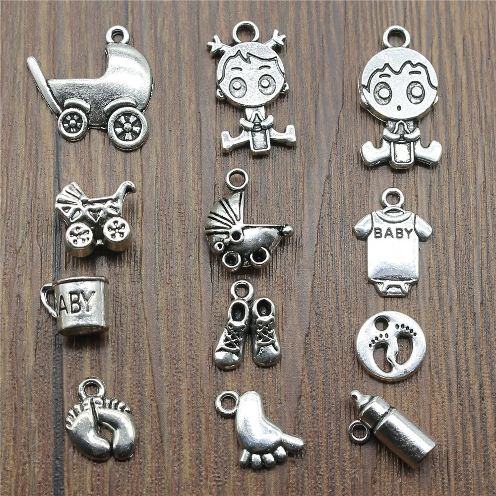 15pcs/lot Baby Charms Antique Silver Color Baby Carriage Charms Pendants For Bracelets Cute Baby Feet Charms For Jewelry Making